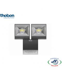 Theben 2x10W Spotlight 3000K with Motion Detector Black