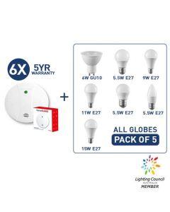 Smoke alarms + E27 LED Globes Bundle